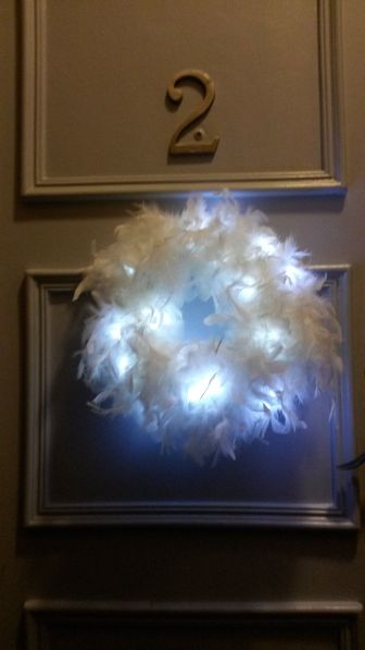lighted white feather